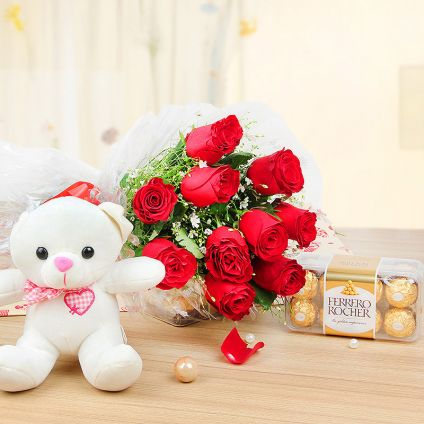 """12 Roses with a cute 6"""" Teddy and 16 Ferrero Rochers"""